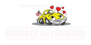 novacek automotive logo with reverse print